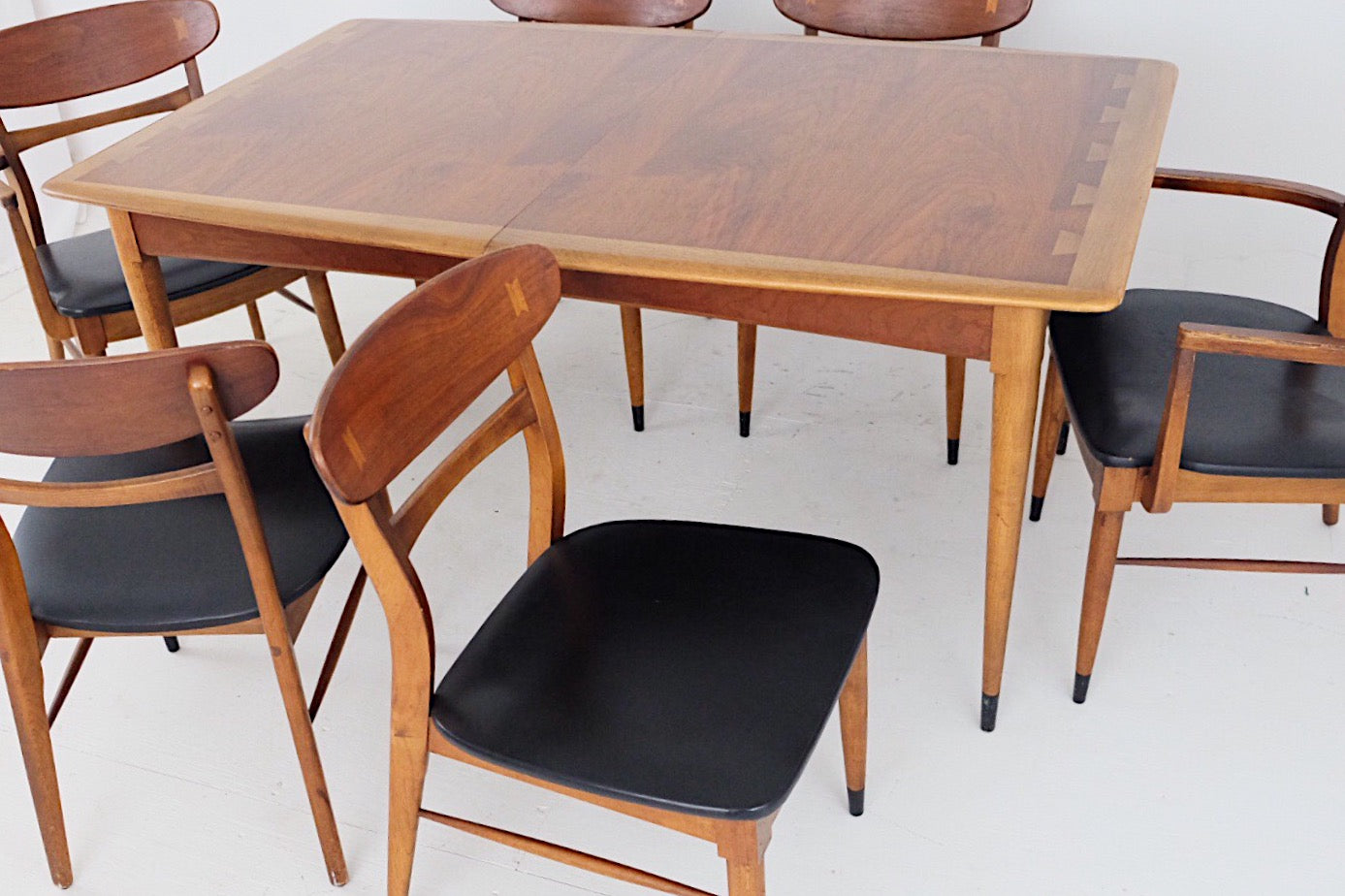 Lane Acclaim Dining Table & Six Chairs Black Vinyl Leather Andre Bus