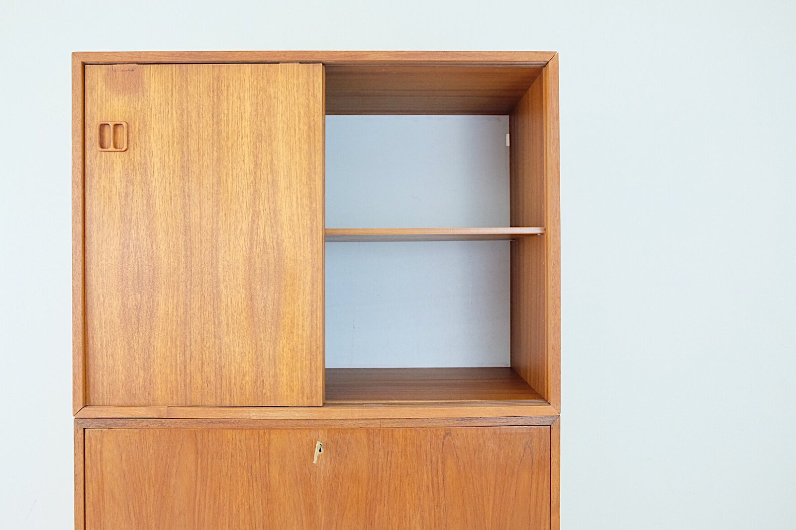 Scandinavian Three Piece Mid Century Modern Teak Veneer Wall Cabinets Carved Square Handles Secretary Fold Down Door