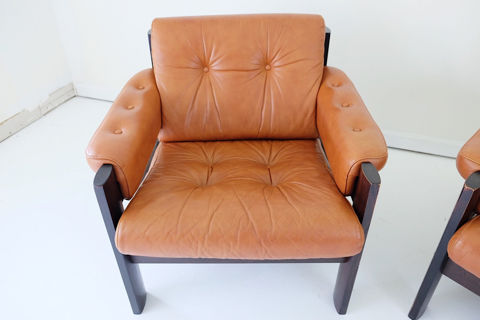 Ekornes Norwegian Cognac Leather Lounge Club Chairs