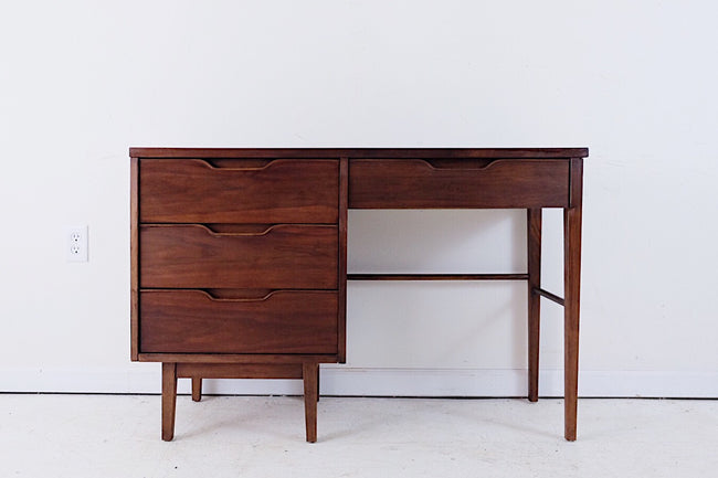 Stanley Mid Century Desk with Shaped Drawer Handles New Walnut Veneer Top