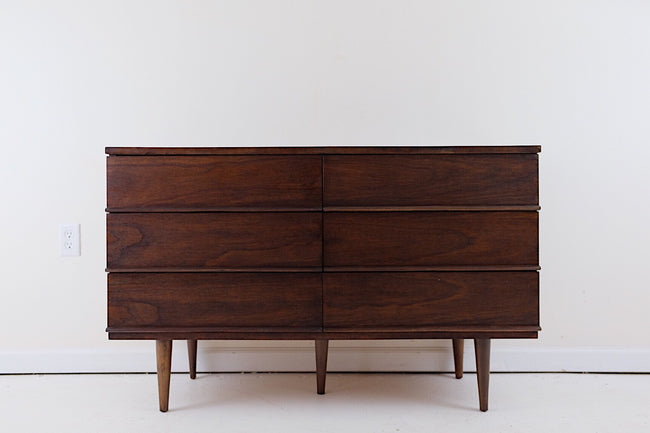 Perfect Dark Wood Mid Century Modern Six Drawer Dresser Carved Handles