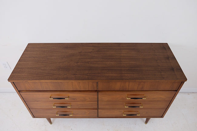 Mid Century Modern Low Dresser Six Drawers New Walnut Veneer Top, Beautiful Black and Brass Handles
