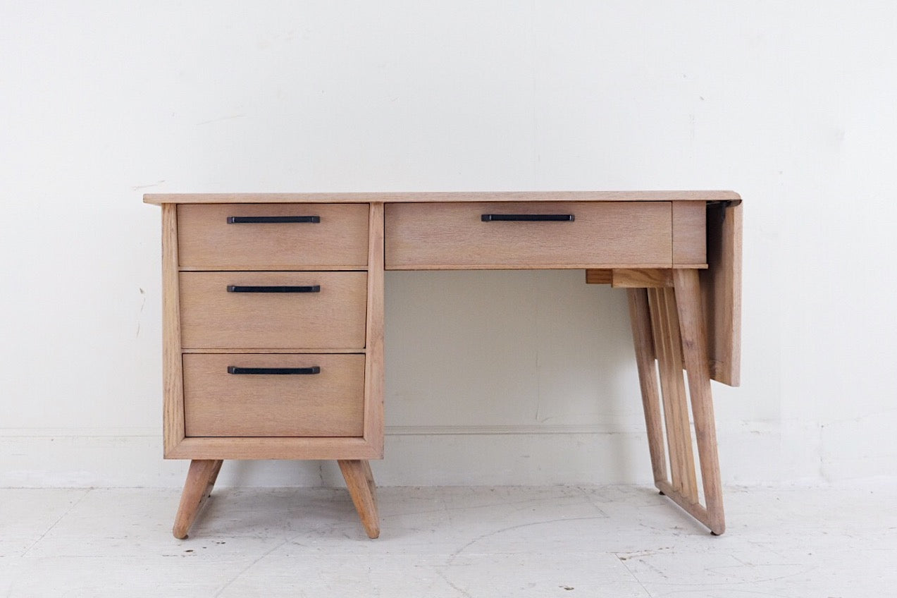 White-washed Bleached Mahogany Desk With Extension Mid Century Funky Legs Four Drawers