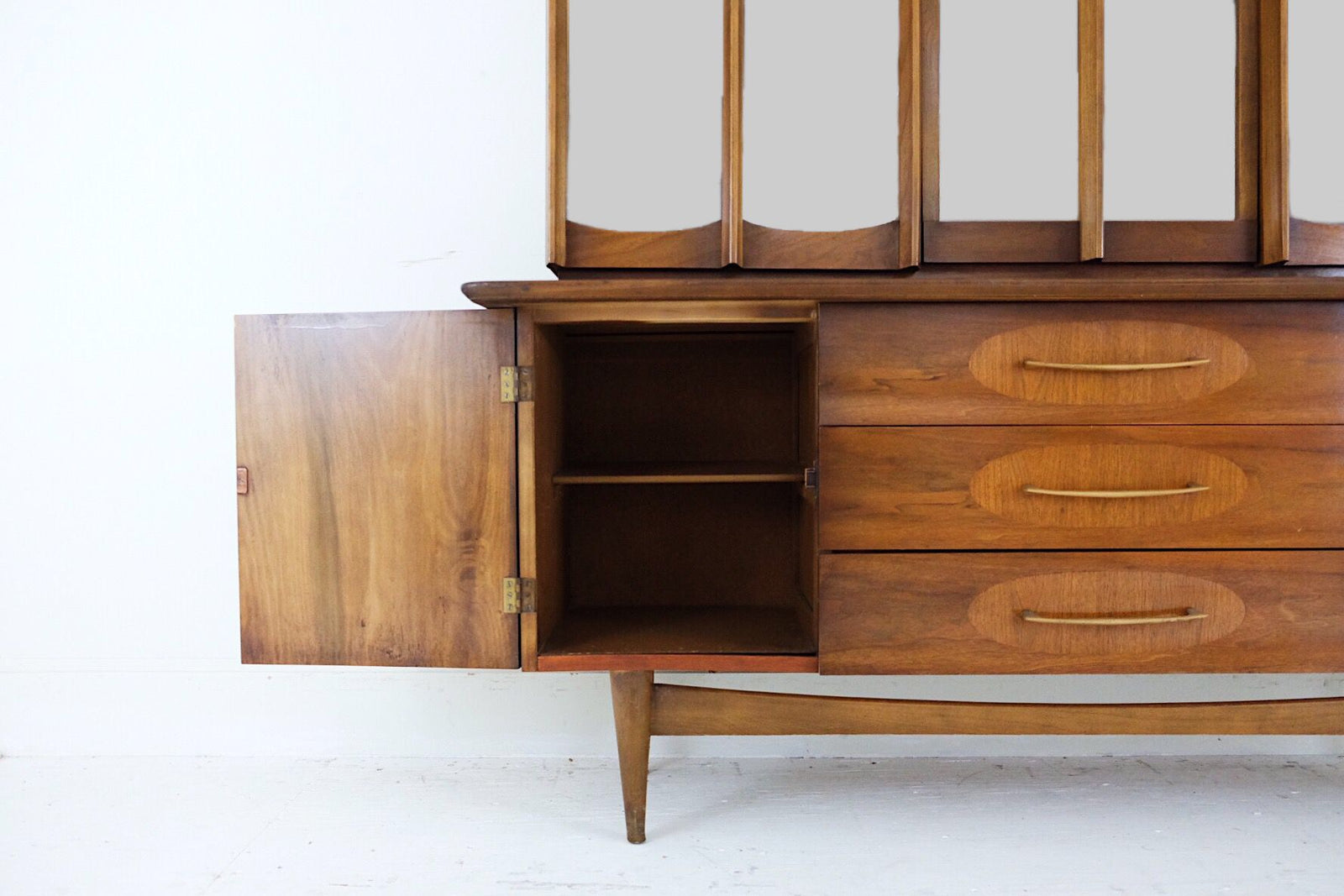 Mid Century Hutch Carved Cabinet Doors Three Drawers Contrasting Veneer Details Brass Handles With Lights