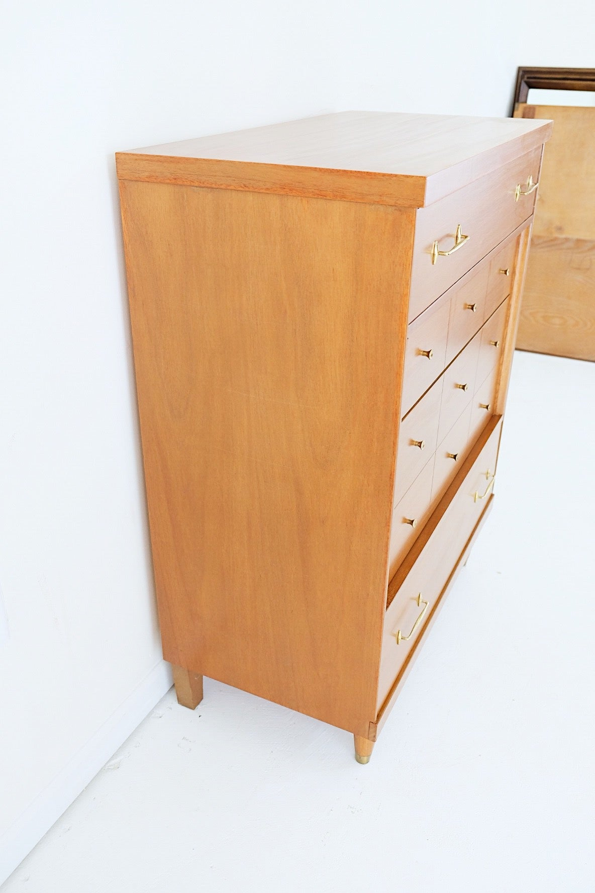 Bassett Mid Century Honey Tall Dresser Brass Pulls and Knobs