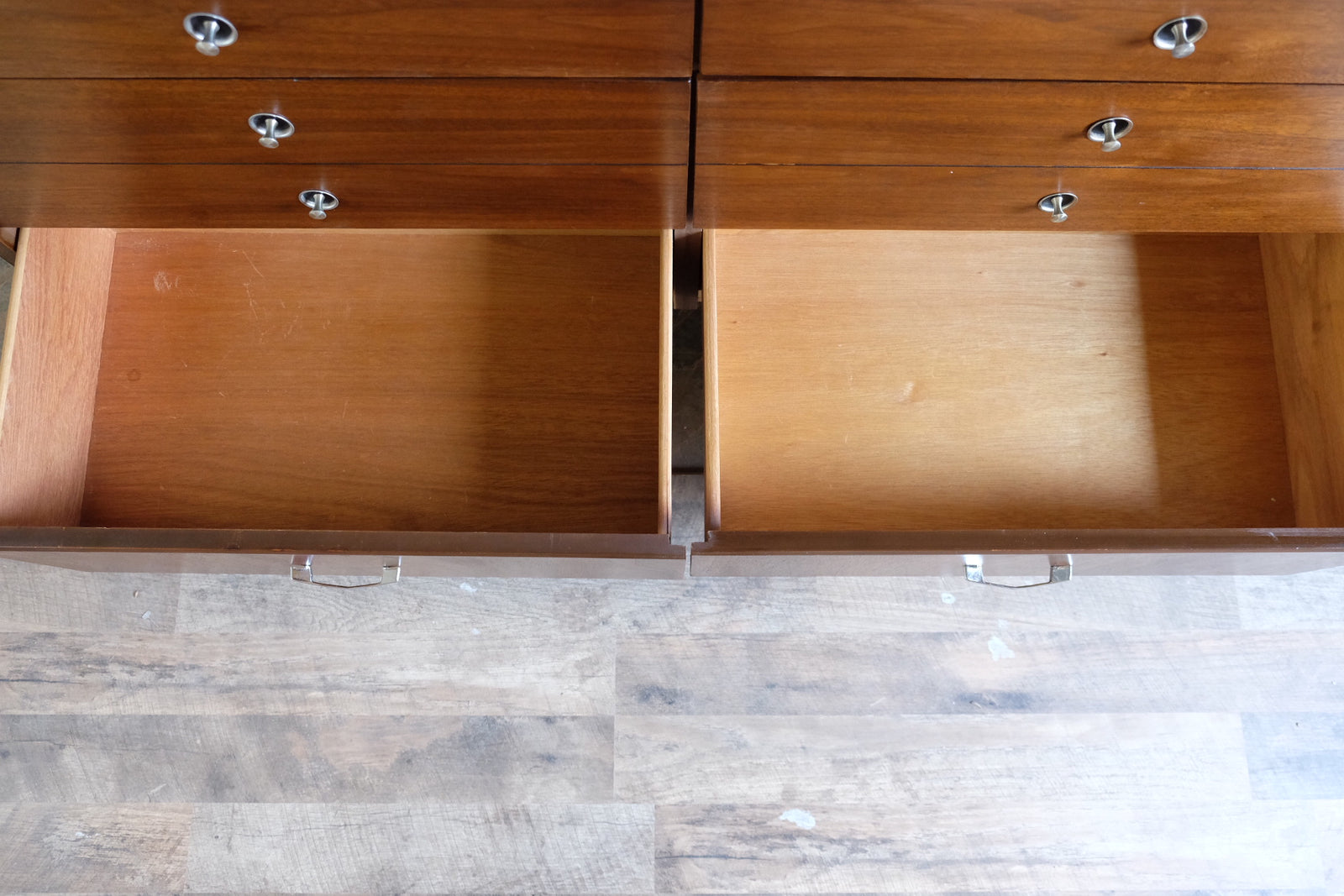 Double Low Dresser Mid Century Modern Set Silver Trumpet Pulls with Circular Black Accents Chrome Chevron Pulls Walnut Veneer