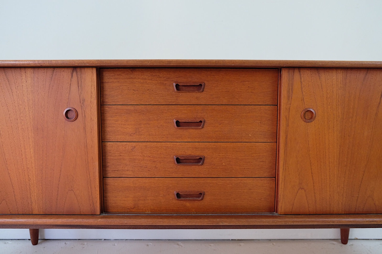 Danish Modern Teak Sideboard Credenza Buffet Cabinet in the Style of Folke Olhssen for DUX