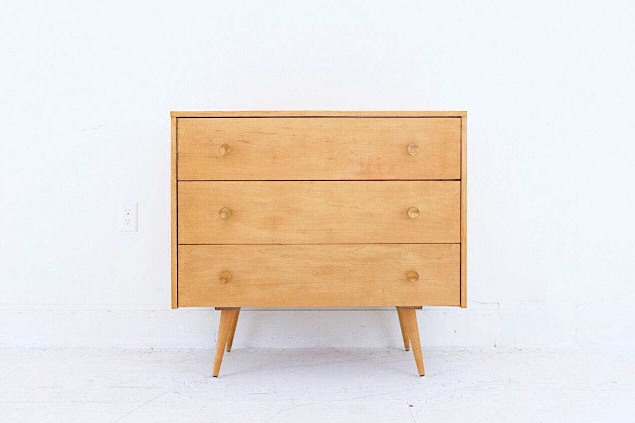 Paul McCobb for Planner Group by Winchendon Mid Century Modern Blond Sugar Hard Rock Maple Hardwood Three Drawer Dresser