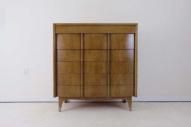American of Martinsville Mid Century Modern Tall Chest of Drawers Metal Capped Front Legs Six Drawers