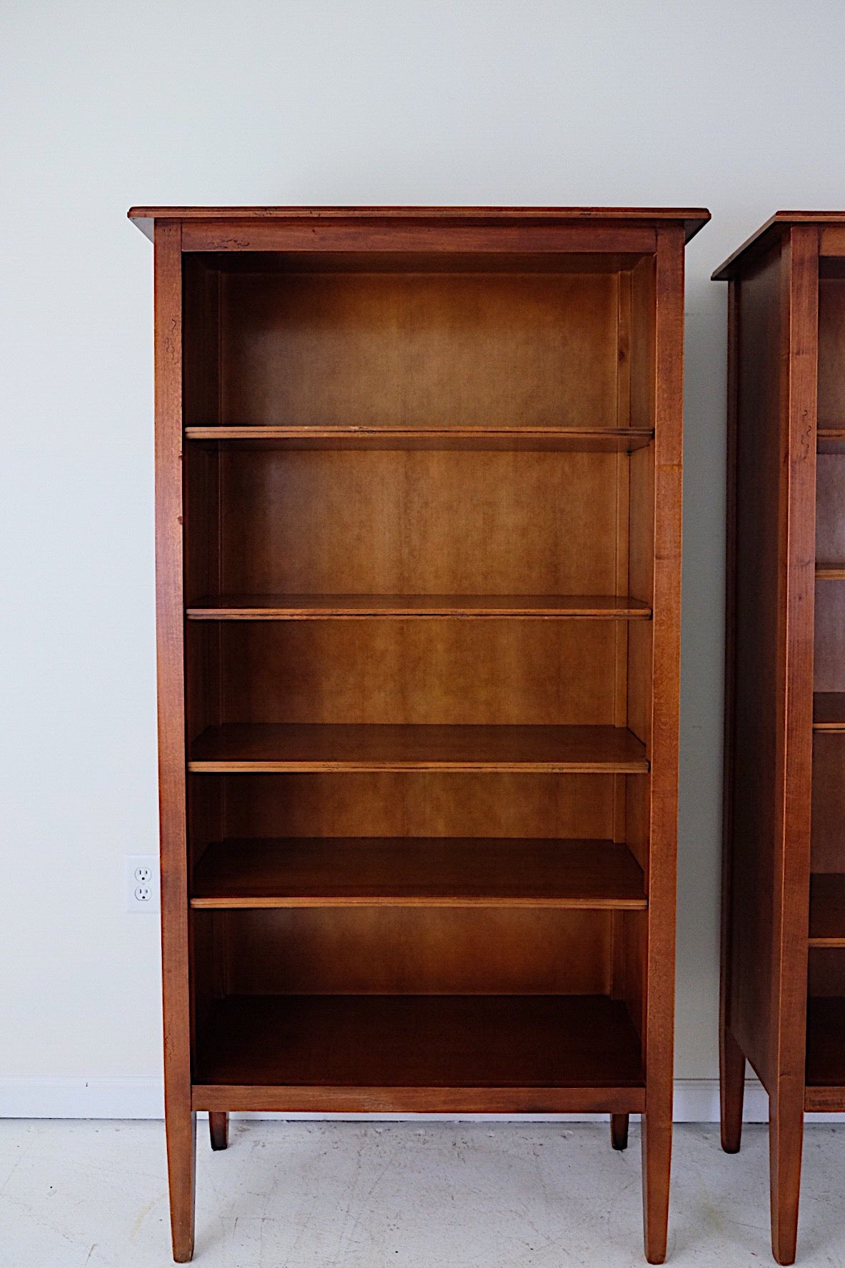 Set of Two Clean Minimal Bookcases or Room Dividers Finished Backs 360 Degrees with Legs