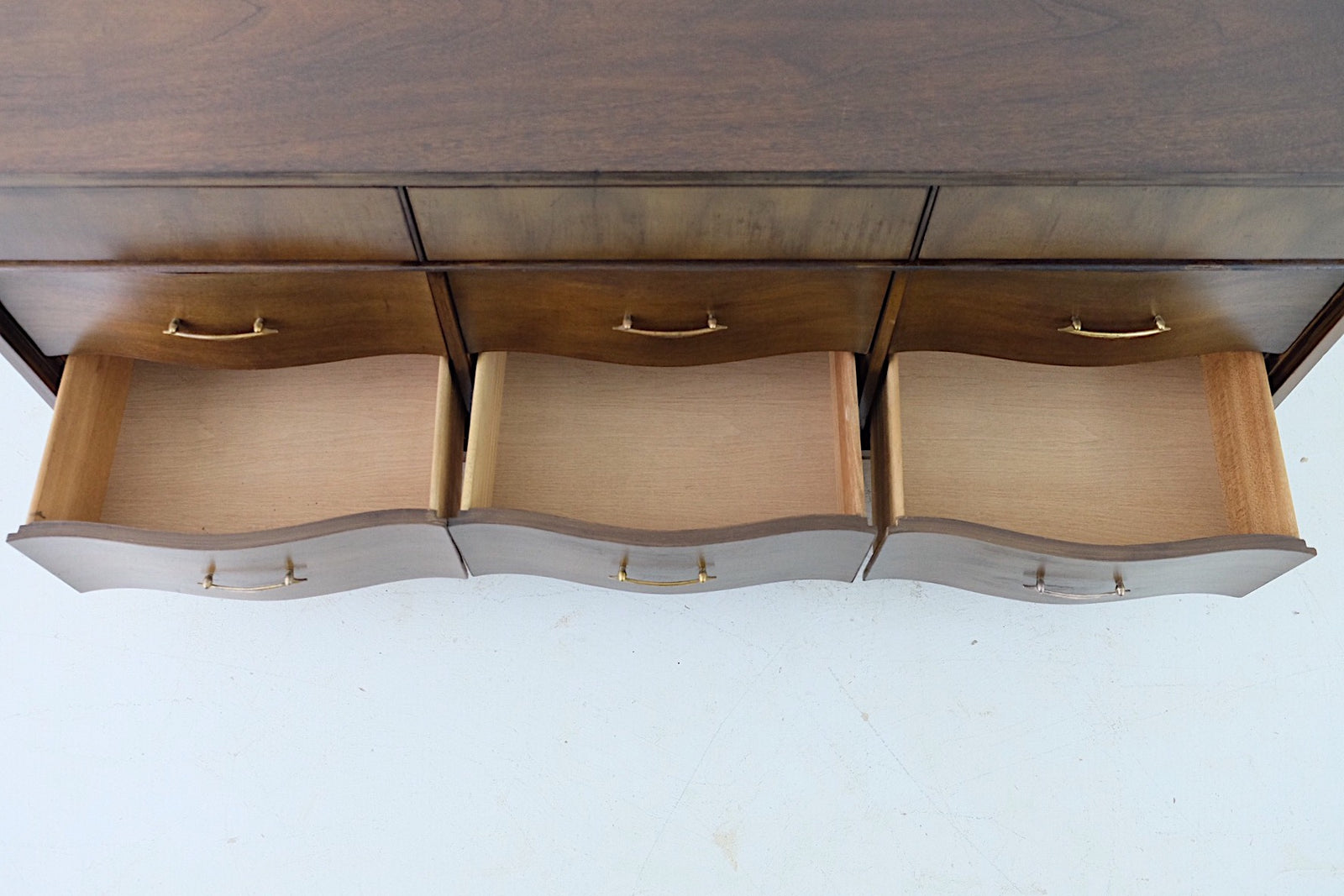 Curved Drawer Fronts Brass Pulls Mid Century Modern Lowboy Dresser Nine Drawers