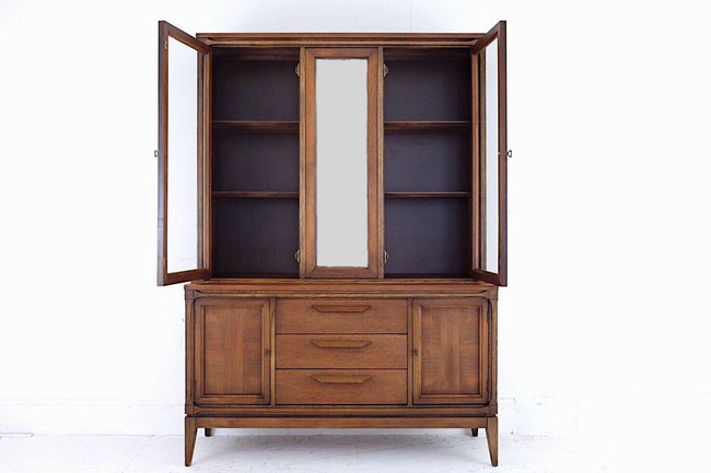 Bassett Hutch Cabinet Carved Wooden Handles Contrasting Inlay Mid Century Modern Two Cabinets Three Drawers