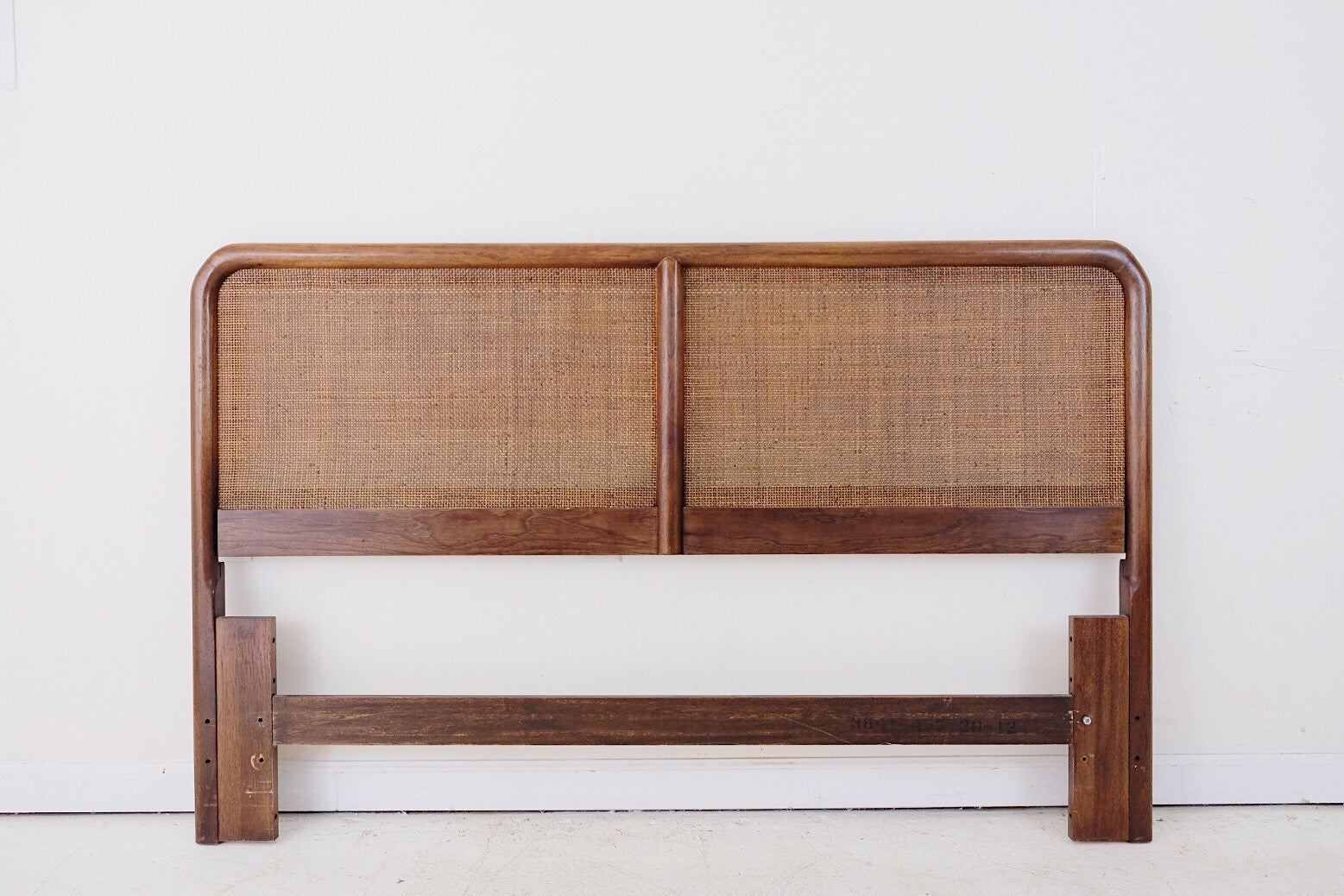 Founders Furniture Queen Headboard Caned Mid Century Modern Atomic Glam Minimalistic Zen