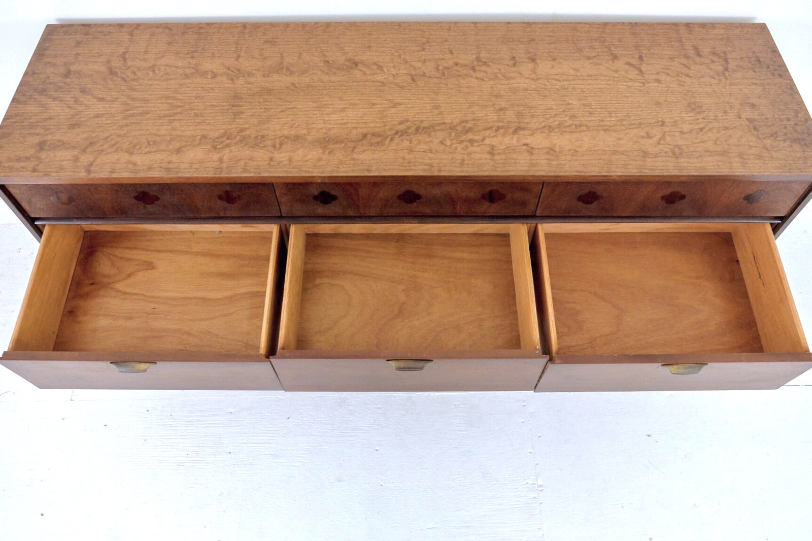 Four Leaf Clover Inlay Two Tone Mid Century Low Dresser Nine Drawers