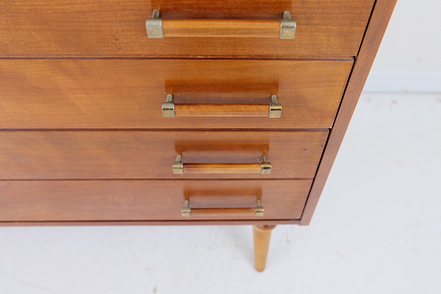 Renzo Rutili Mid Century Modern Tall Dresser Six Drawers Brass Pulls and Handles