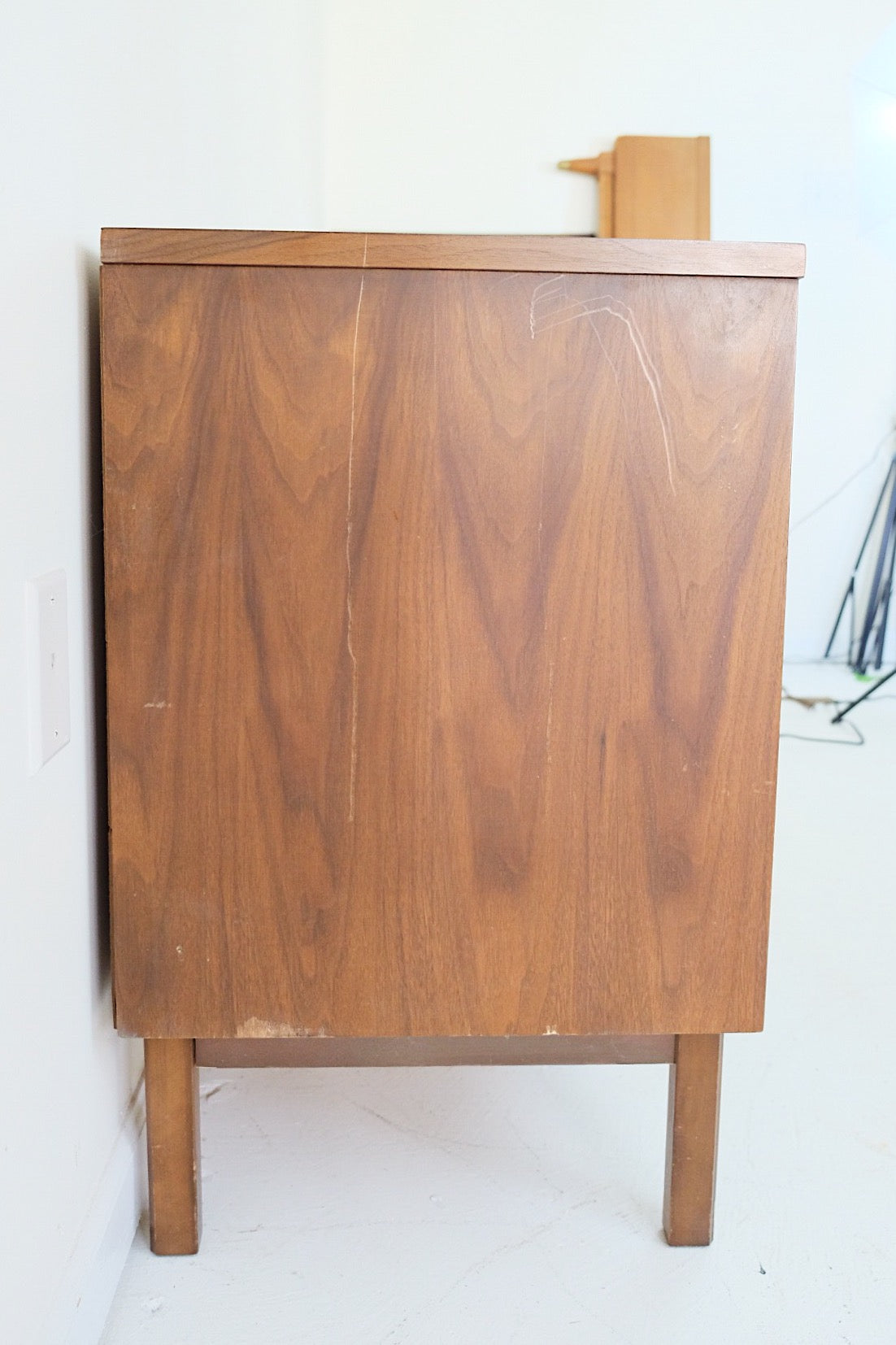 Cane Door Cabinet Mid Century Modern Brass Pulls Entryway TV Stand Media Center