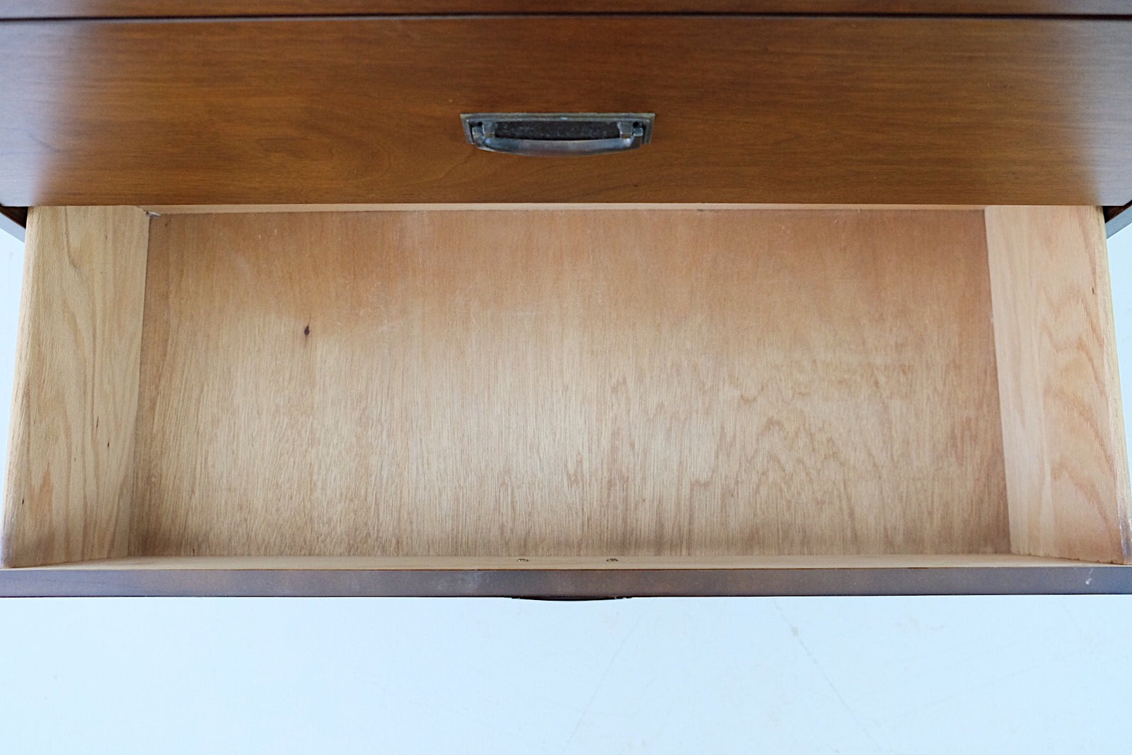 Bassett Mid Century Tall Dresser Walnut and Oak Veneer Two Tone Brass Handles