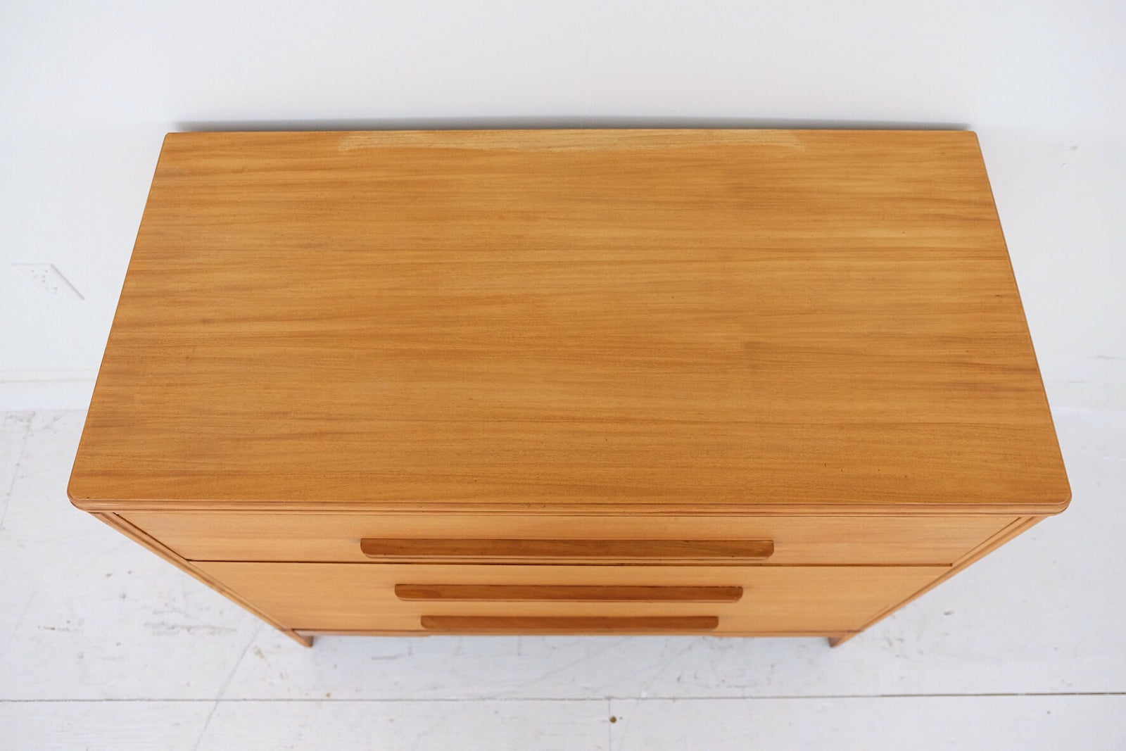 Early Mid Century 1950s Short Bachelors Style Dresser Three Drawers Carved Wood Handles