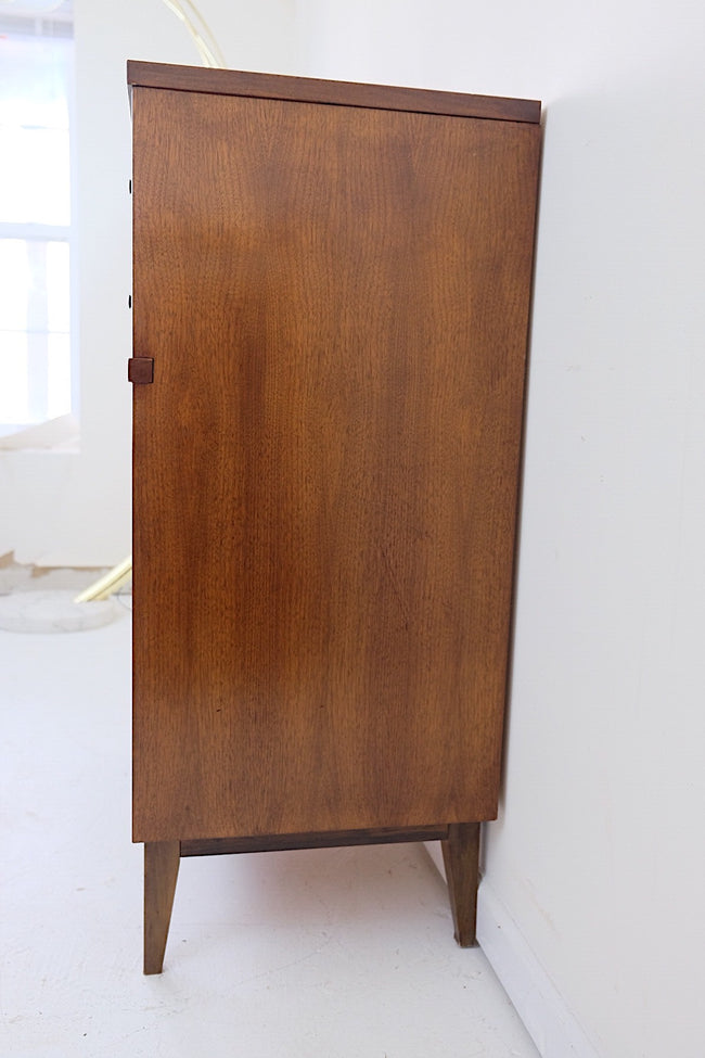 Johnson Carper Mid Century Modern Tallboy Dresser Curved Fronts Square Brass Handles