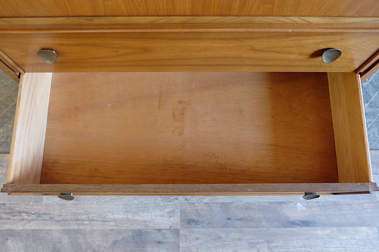 Dixie Four Drawers Patina Leaf Handles Mid Century Modern