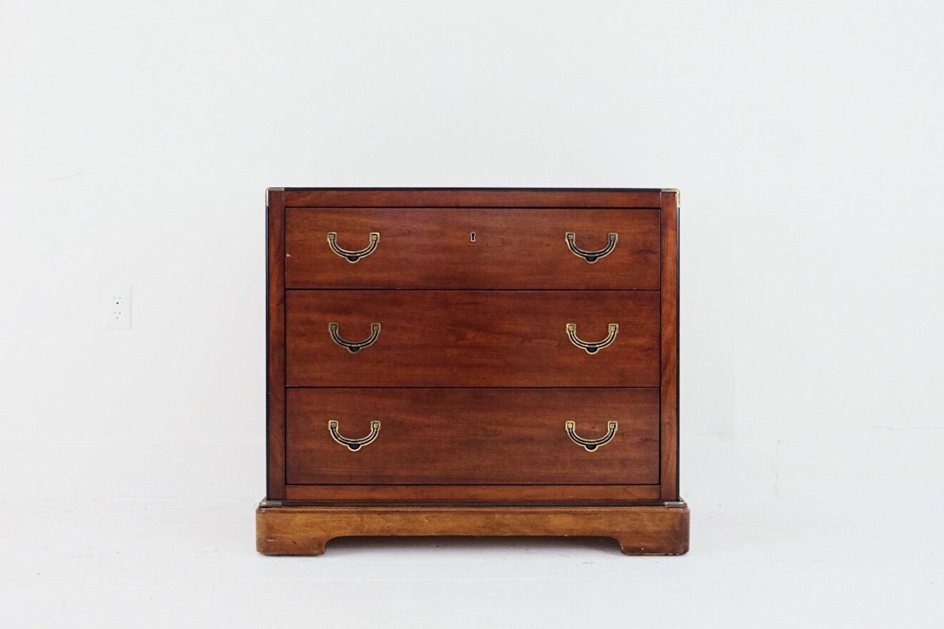 National Mt Airy Campaign Style Mahogany Three Drawer Diminutive Dresser Bachelors Chest Brass Bamboo Handles Black Laquer-esque Details