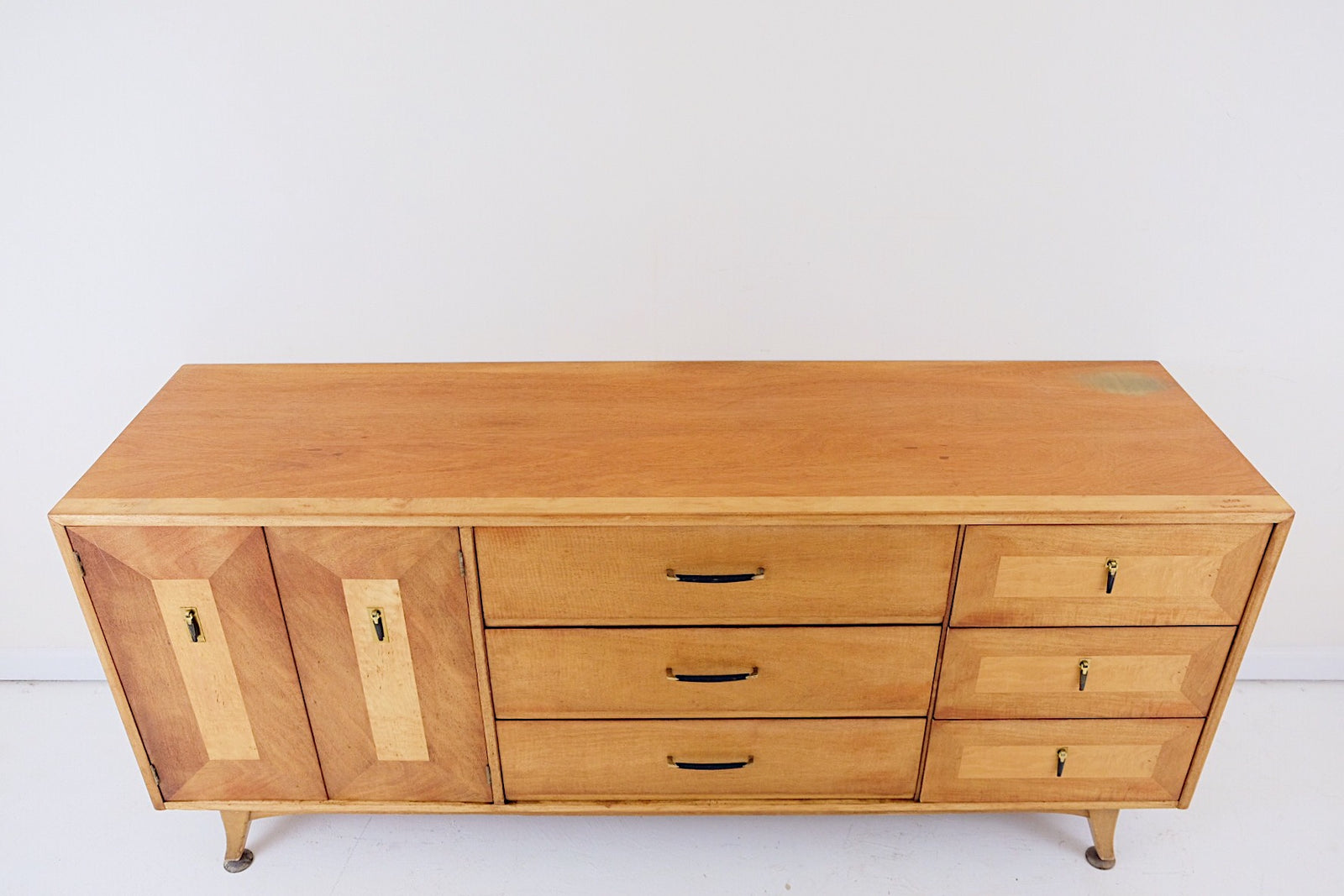Mid Century Modern Sideboard Lowboy Dresser Nine Drawers Two Tone Ebony Handles and Pull Tabs