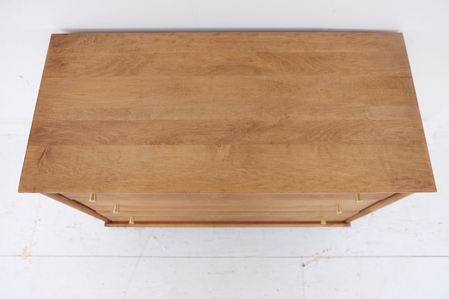 Solid Wood Mid Century Modern Bachelors Chest Three Drawers New Brass Pulls Brass Capped Legs