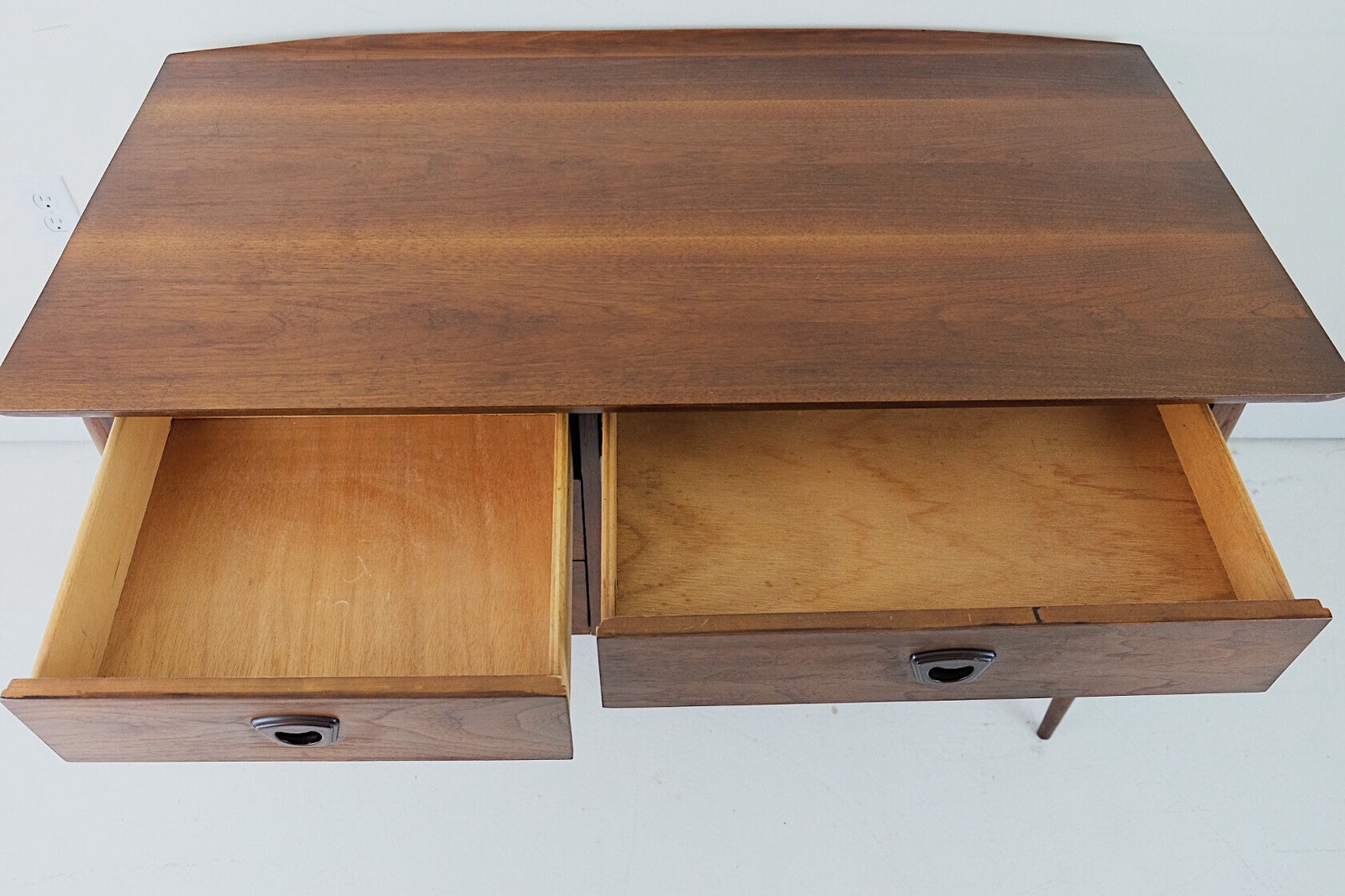 Beautiful Basset Desk Three Drawers with Carved Handles Curved Top