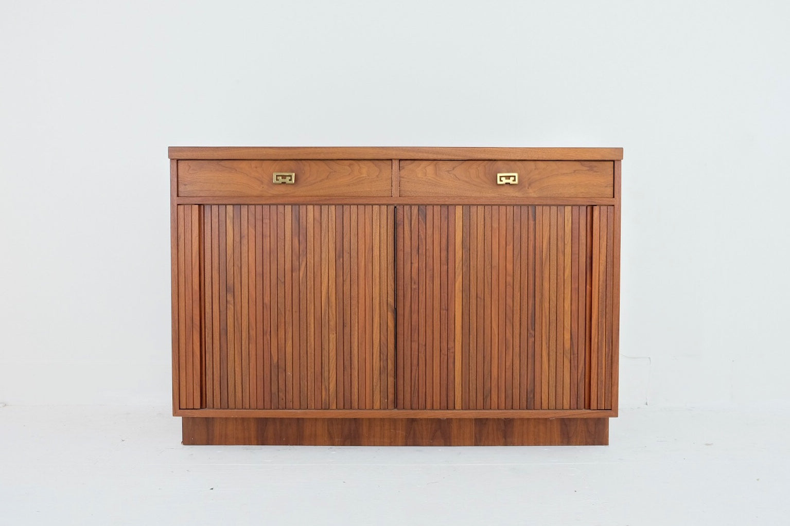 Solid Walnut Mid Century Modern Handmade Unique Storage Unit Tambour Doors Fleece Lined Drawers Super Smooth Hardware Brass Handles Laminate Top