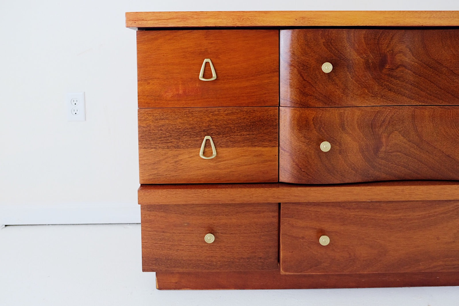 Beautiful Walnut Lowboy Dresser Painted Gold Mid Century Pulls and Knobs