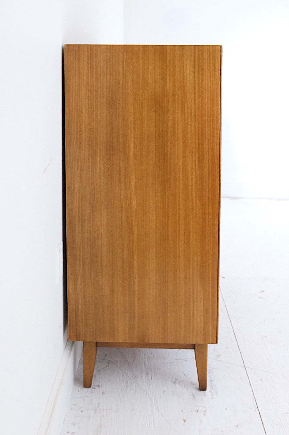 Drexel Mid Century Modern Tall Dresser Five Drawers Jack Cartwright Style Inset Brass Handles