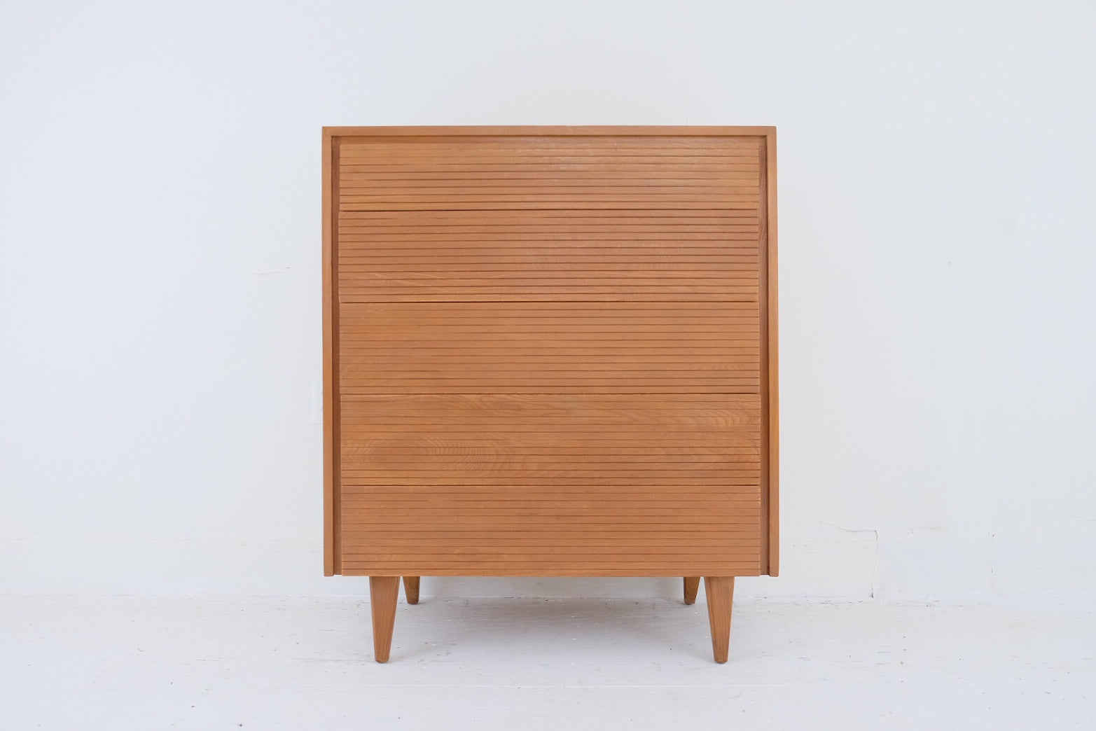 Tall Mid Century Dresser in the Style of Raymond Loewy Carved Striped Registers