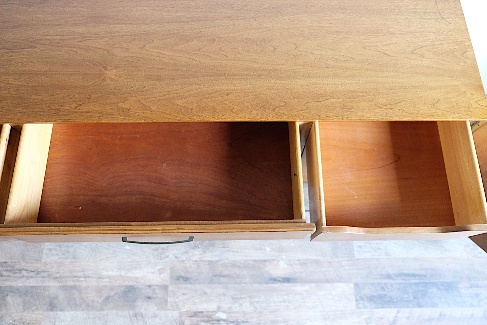 Vintage Mid Century Modern Sideboard Brass Handles Three Drawers Two Cabinets Six Shirt Tray Style Drawers