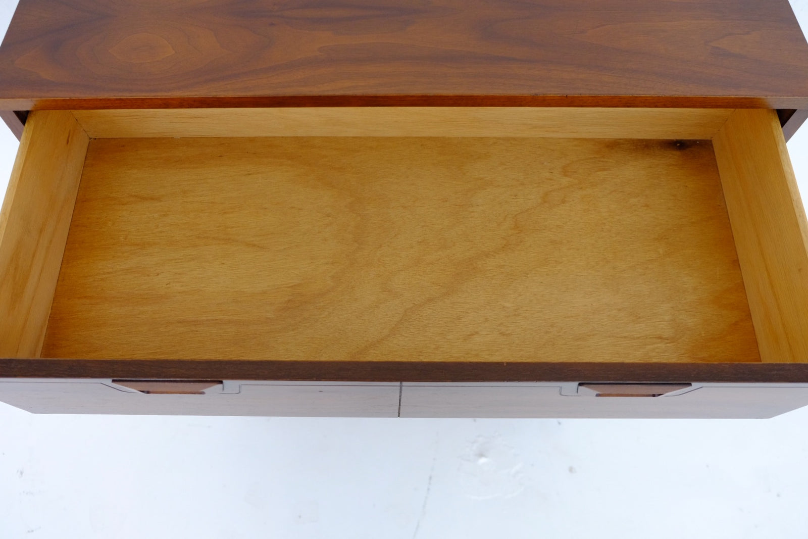 Mid Century Modern Walnut Tall Dresser with Trapezoidal Carved Handles
