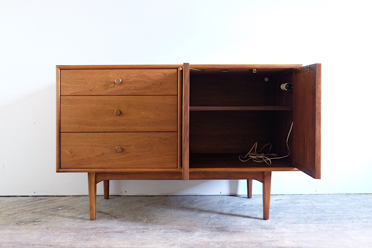 Drexel Declaration Buffet with Original Automatic Interior Light Three Drawers and Cabinet Brass Knobs