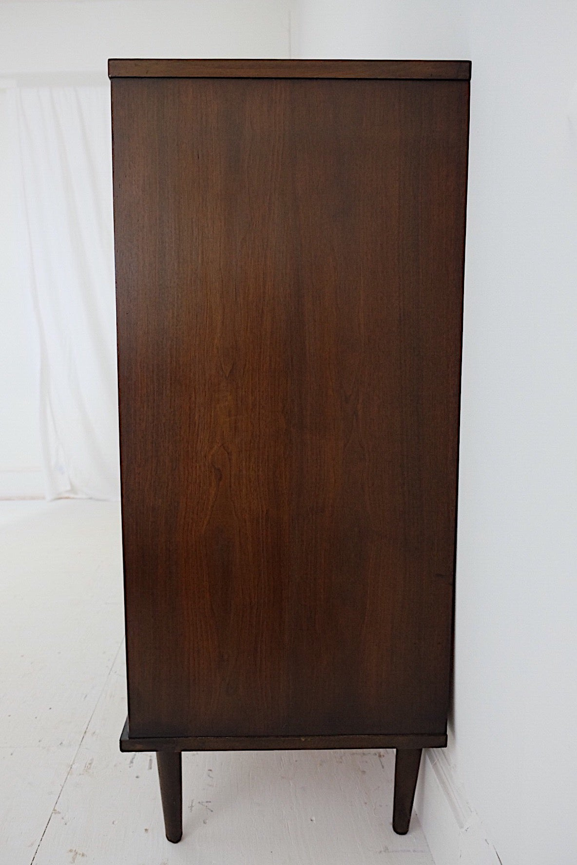 Tall Dark Handsome Mid Century Modern Dresser New Cherry Veneer Top Curved Fronts