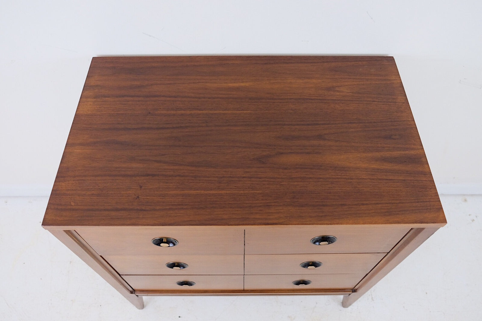 Bachelors Chest Basic Witz Mid Century Modern Three Drawers Black Enameled Hammered Concave Details Brass Pulls