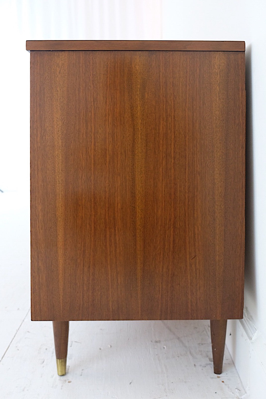 Mid Century Modern Low Dresser Six Drawers New Cherry Veneer Top, Beautiful Black and Brass Handles