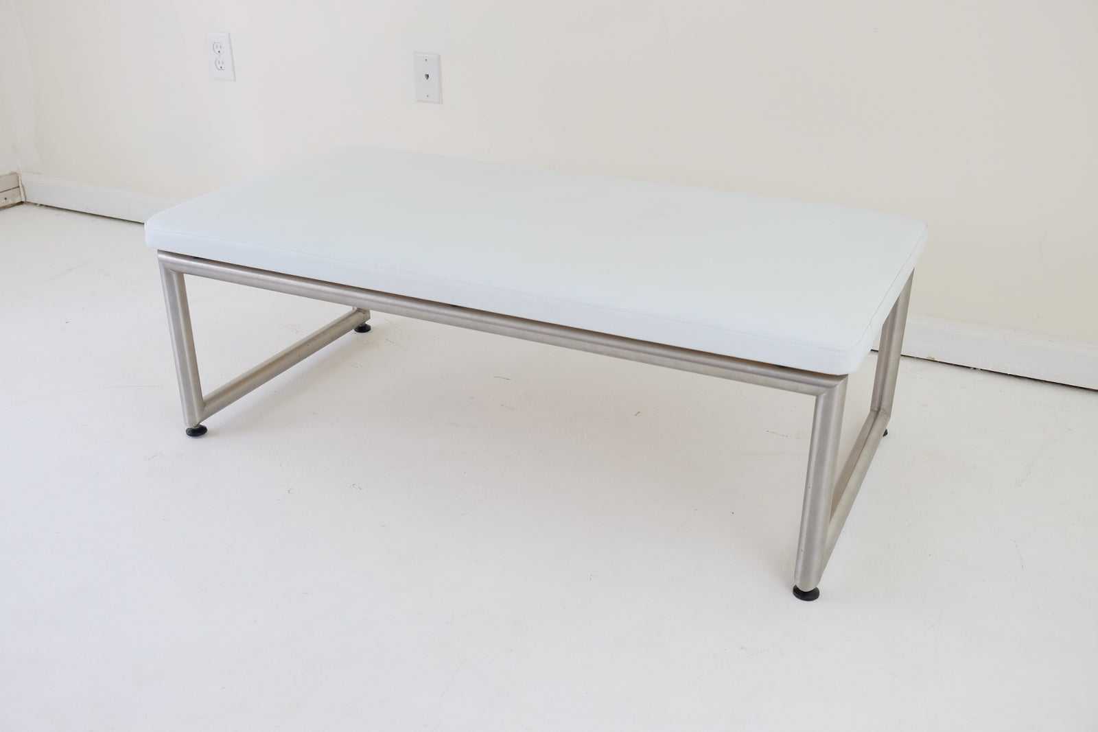 Henrik Tengler Stainless Steel Bench White Leather Upholstery