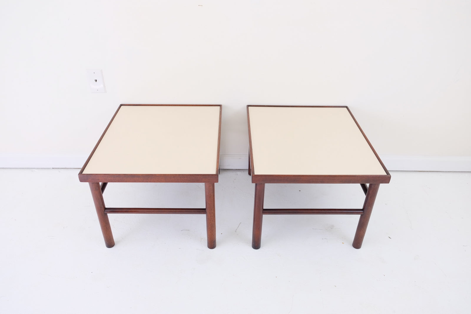 Dark Wood Side Tables with Cream Melamine Top and Rounded Legs