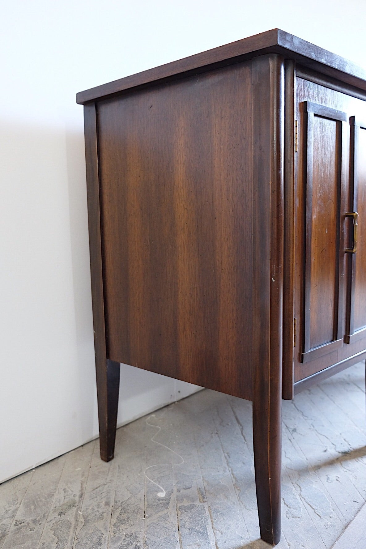 Dark Espresso Brown Faceted Mid Century Buffet Sideboard Three Drawers Two Paneled Cabinet Doors Brass Handles