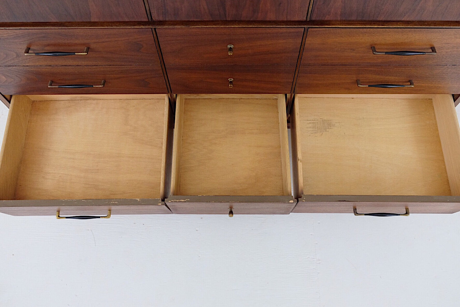 Mid Century Modern Low Dresser Nine Drawers New Cherry Veneer Top, Beautiful Black and Brass Handles