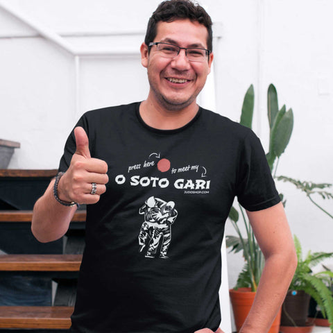 Judo O Soto Gari Press Here Men's Tshirt - JudoShop.com