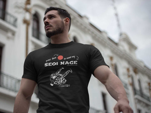 Image of Judo Seoi Nage Press Here Men's Tshirt - JudoShop.com