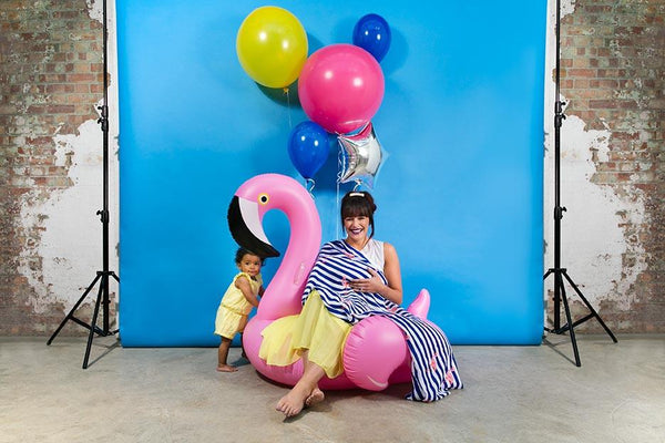 flamingo print muslin blanket campaign