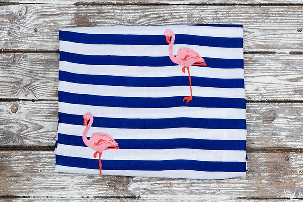 flamingo print muslin blanket folded