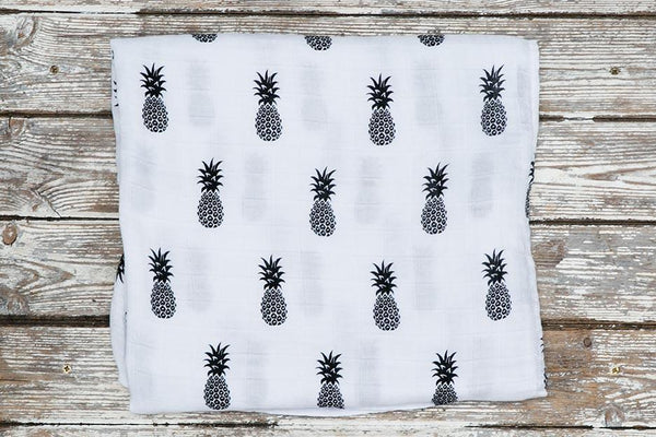 pineapple print muslin blanket folded