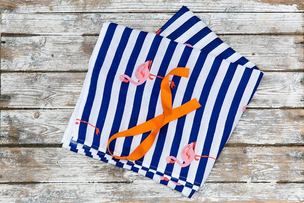 flamingo print muslin blanket ribbon close-up
