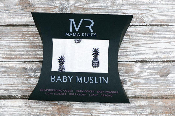 pineapple print muslin blanket packaging