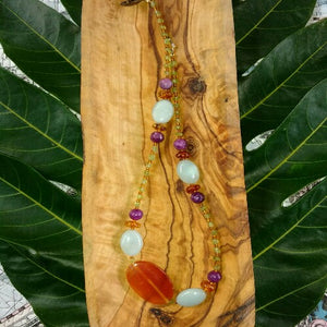 Virgo Semi-Precious Stones Necklace in Orange and Purple